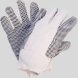 Baumwoll-Köper-Handschuhe, schwarze PVC-Noppen
